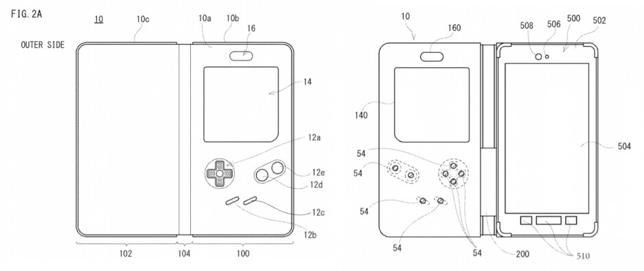 Images from Nintendo's patent filing - Nintendo may be working on a case that turns your smartphone into a Game Boy