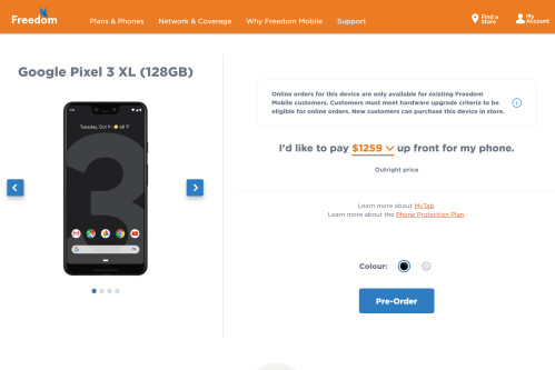 Google Pixel 3 XL and Pixel 3 as briefly listed by Freedom Mobile
