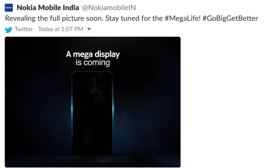 """A screenshot of Nokia India's deleted tweet - Nokia teases something with a """"mega display"""", could it be the Nokia 7.1 Plus?"""