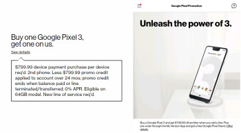 Left – disclaimer for the Pixel 3 BoGo deal from Verizon's website. Right – screenshot from the My Verizon showing a promotion for a free wireless charging stand when pre-ordering the Pixel 3