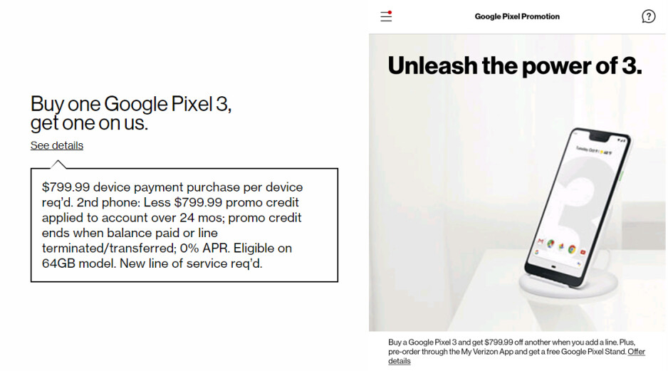 Left – disclaimer for the Pixel 3 BoGo deal from Verizon's website. Right – screenshot from the My Verizon showing a promotion for a free wireless charging stand when pre-ordering the Pixel 3 - Verizon leaks Google Pixel 3 pricing ahead of launch