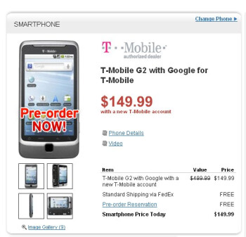 Wirefly opens up pre-orders for its $149.99 on-contract T-Mobile G2