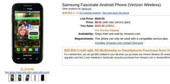 Amazon does it again - Samsung Fascinate on sale for a cent