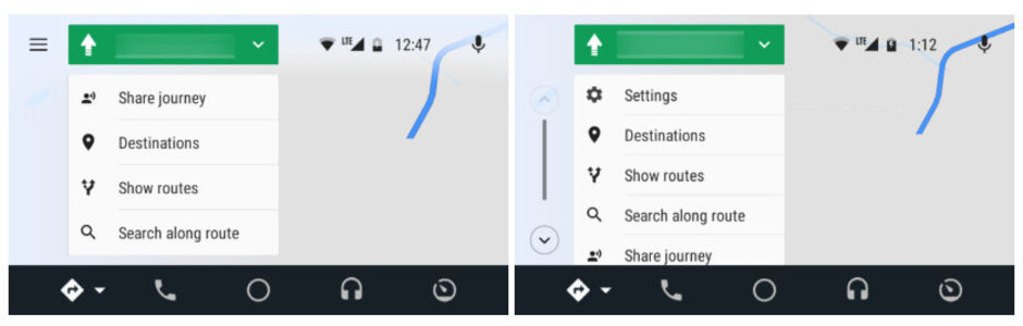 Left - old version. Right - new version - Google Maps gets a major redesign on Android Auto