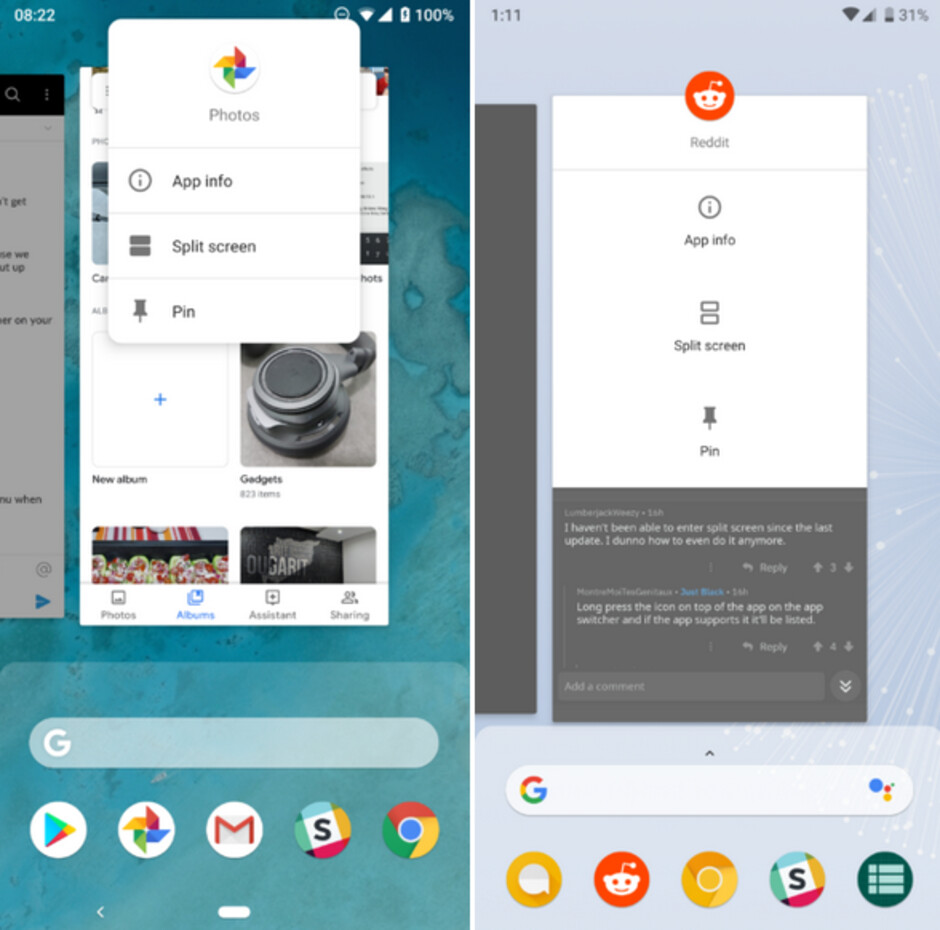 Old launcher at left, Pixel 3 launcher on the right - Sideload the Pixel 3 launcher on your phone running Android 9 Pie