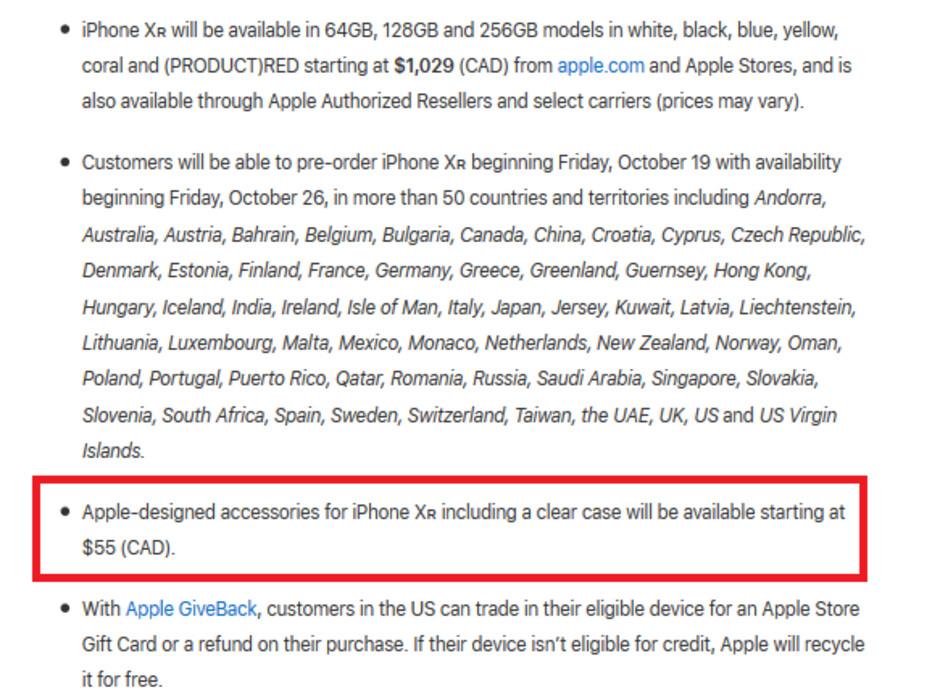Apple's Canadian press release announcing the iPhone XR includes this little nugget about a clear case - Apple will sell an official clear case for the Apple iPhone XR