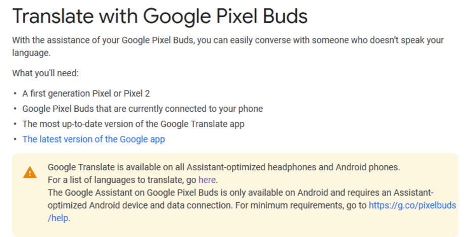 Google support page reveals end of Pixel Buds' exclusivity on real-time language translation - Real-time language translation no longer exclusive to Google Pixel Buds
