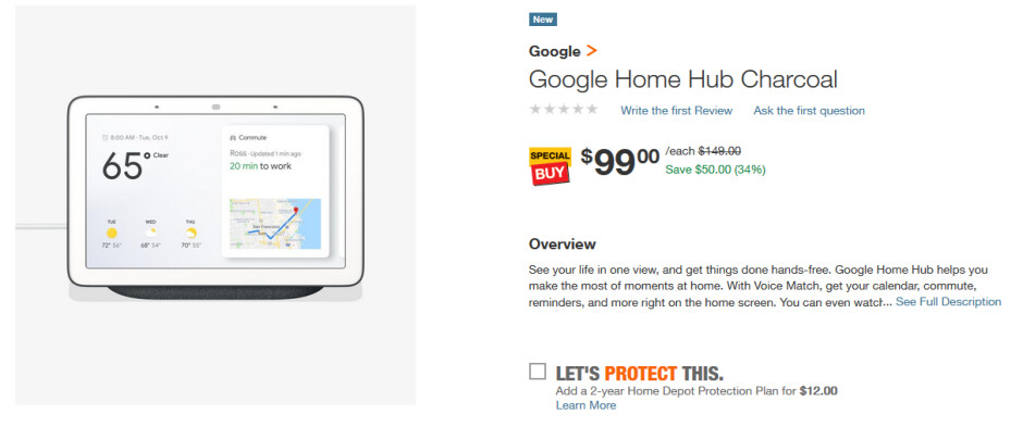 Home Depot has the Google Home Hub on sale for just $99 - Google Home Hub smart display price cut by $50 (34%) at Home Depot (UPDATE)