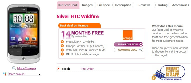 Silver HTC Wildfire & white HTC Desire pre-orders are available in the UK
