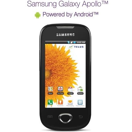 Mid-range Samsung Galaxy Apollo is now a go with TELUS