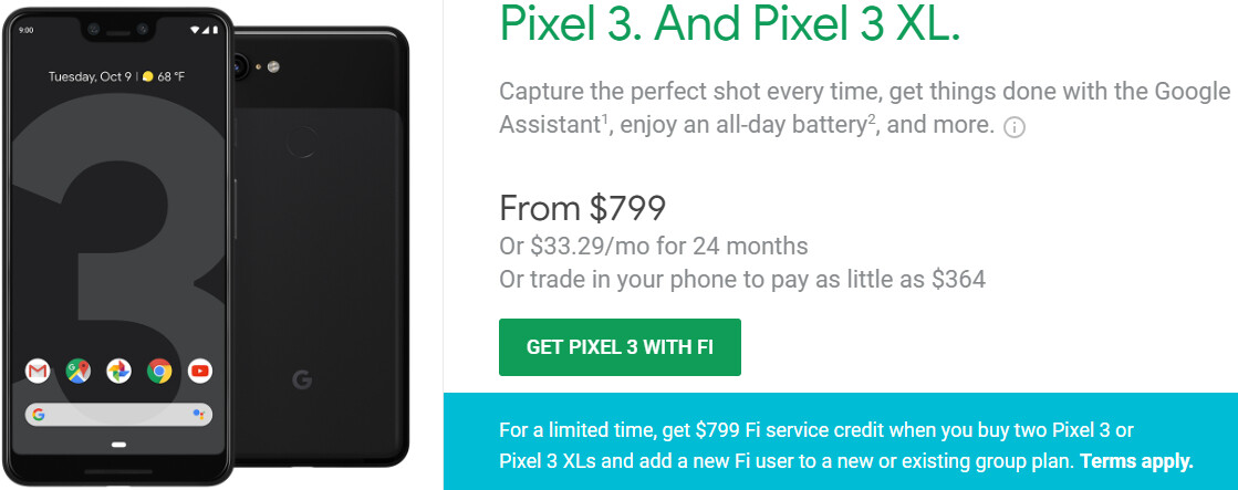 Deal: Buy two Google Pixel 3 phones on Project Fi, get $799