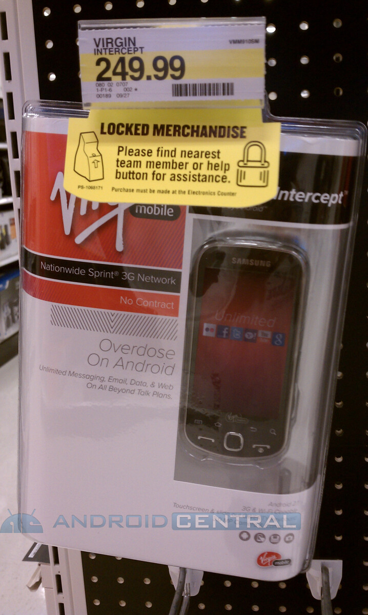 Samsung Intercept units for Virgin Mobile are beginning to pop up at Target stores
