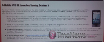 RadioShack will start selling the T-Mobile G2 starting on October 3rd?