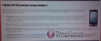 RadioShack will start selling the T-Mobile G2 starting on October 3rd?