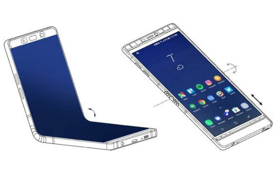 The Samsung Galaxy F could resemble this image from a Samsung patent filing - Huawei CEO Richard Yu confirms foldable 5G phone for 2019