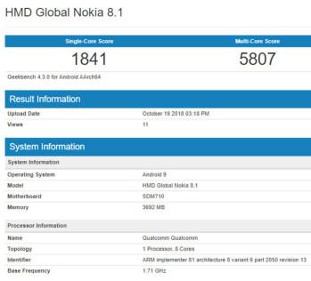 Nokia 8.1 с пятнами средних частот и Android 9 Pie