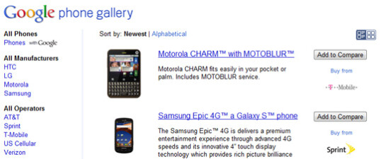 Google Phone Gallery lines up Android phones for you to compare