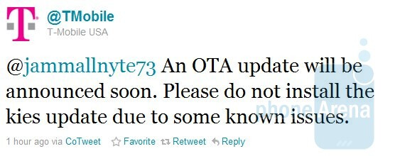 T-Mobile says to wait for the OTA update for the Samsung Vibrant as opposed to using Kies