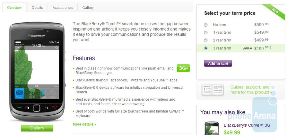 TELUS is now selling the BlackBerry Torch 9800 for $199.99 with a 3-year contract
