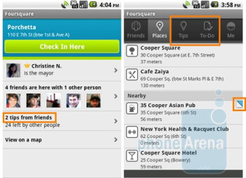 "Foursquare app for Android now places ""tips and to-do list"" on the main screen"