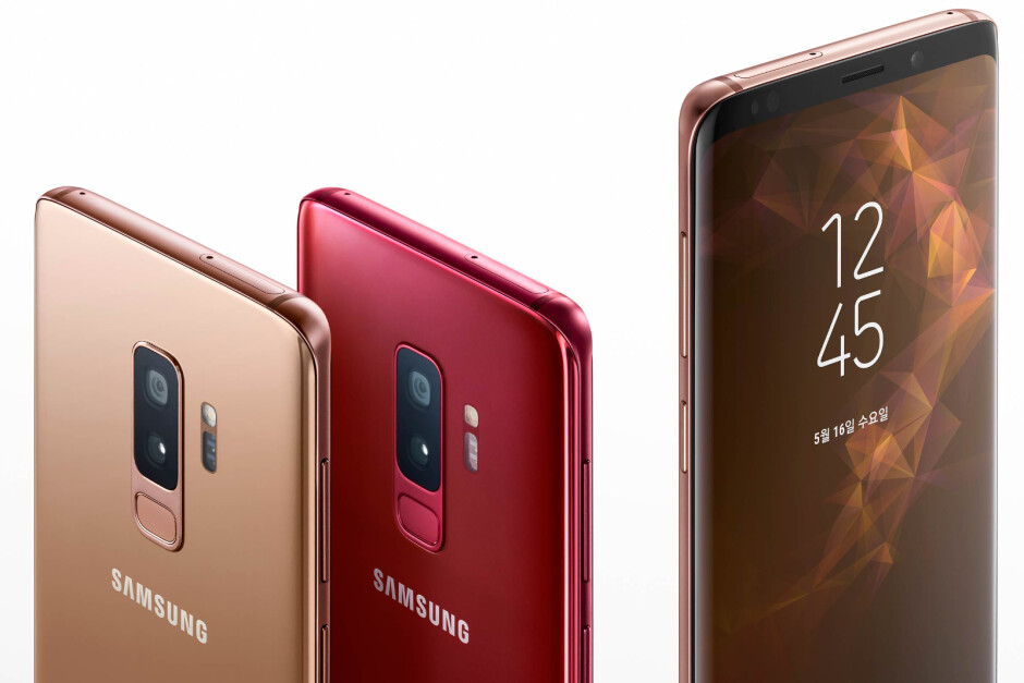 Two of the current Galaxy S9 color options - gold and red - Samsung Galaxy S10 might have six color variants, including green