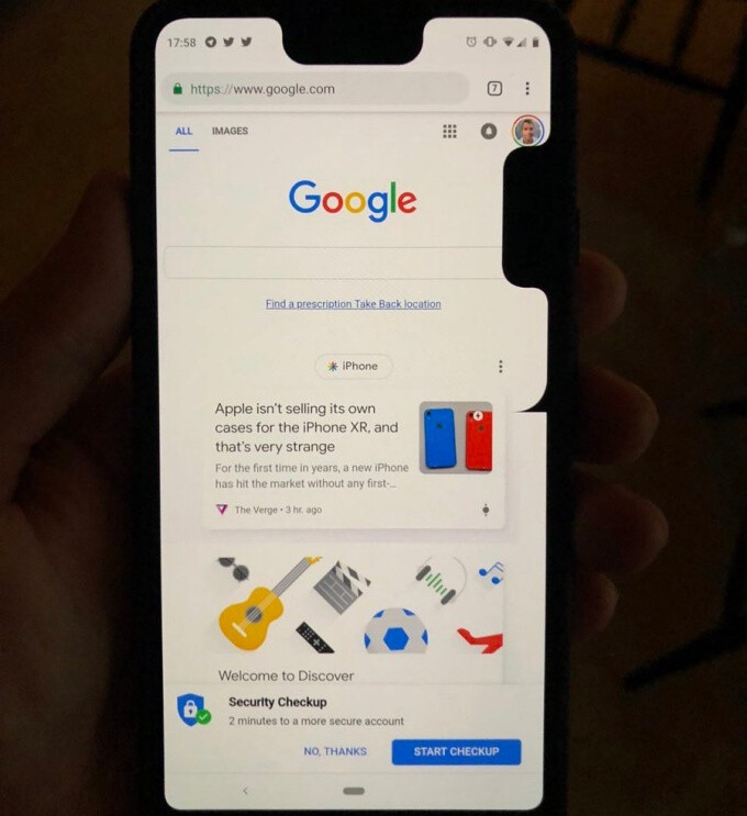 Google heard Pixel 3 XL owners like notches, so a fresh glitch adds a second one