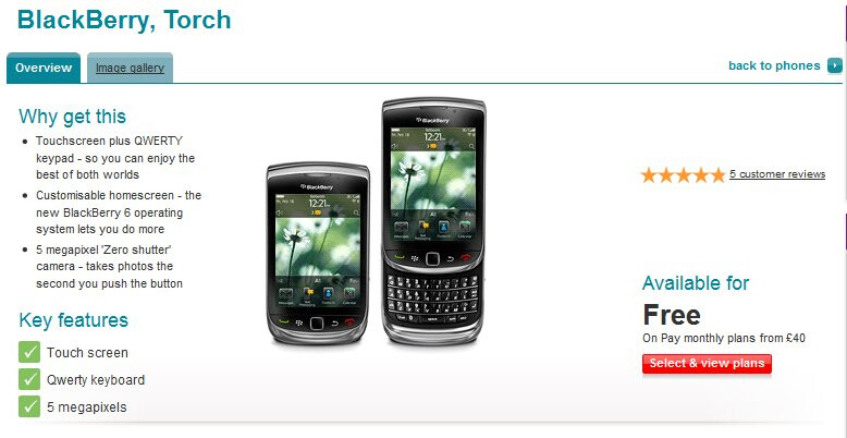 BlackBerry Torch 9800 slides into an official release with Vodafone UK