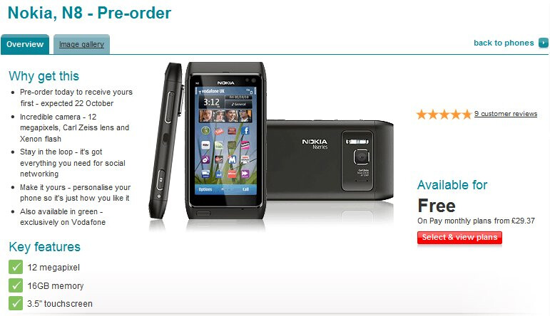 Vodafone UK opens up its arms for pre-orders on the Nokia N8
