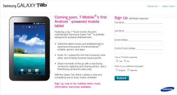 Sign up page allows you to get upcoming details about T-Mobile's Samsung Galaxy Tab