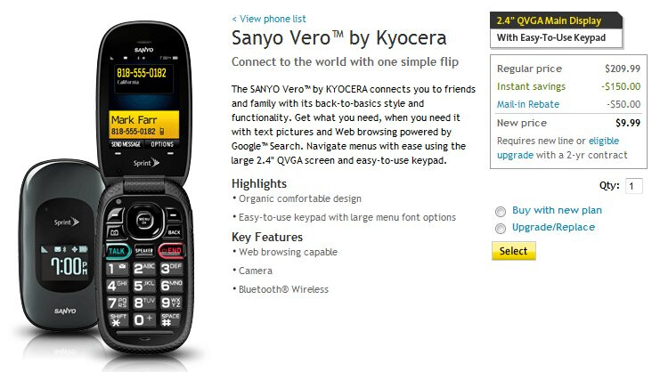 Sprint's Sanyo Vero is now on sale for $9.99 with a contract