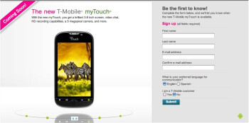 Official sign up page for updates on the T-Mobile myTouch goes live