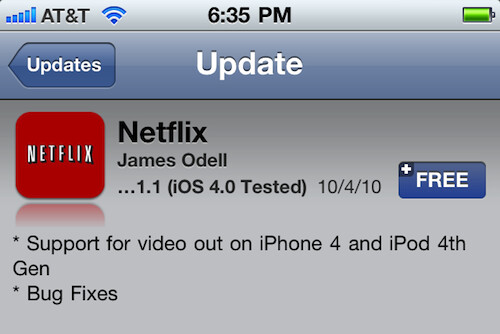 Netflix for iPhone now supports video out