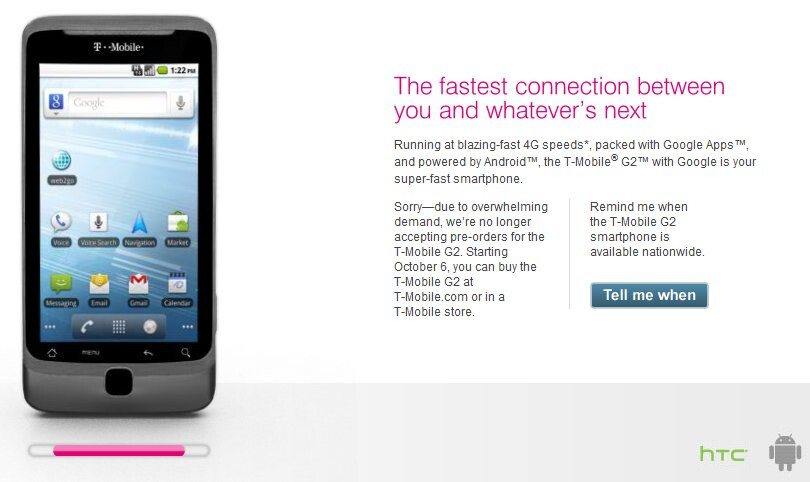 """T-Mobile shuts down pre-orders for the G2 due to """"overwhelming demand"""""""