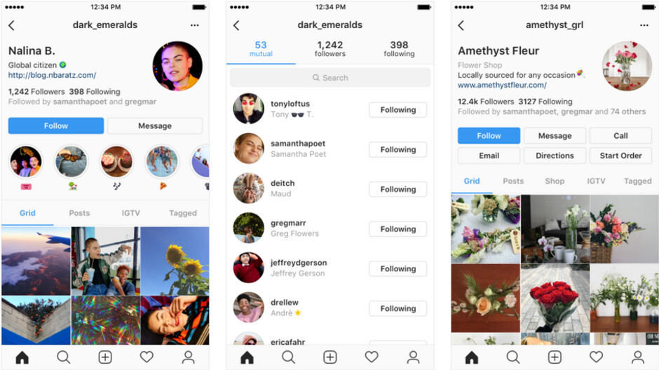 Examples of some of the changes Instagram is testing for its new profile design - Different changes are being tested for your Instagram profile