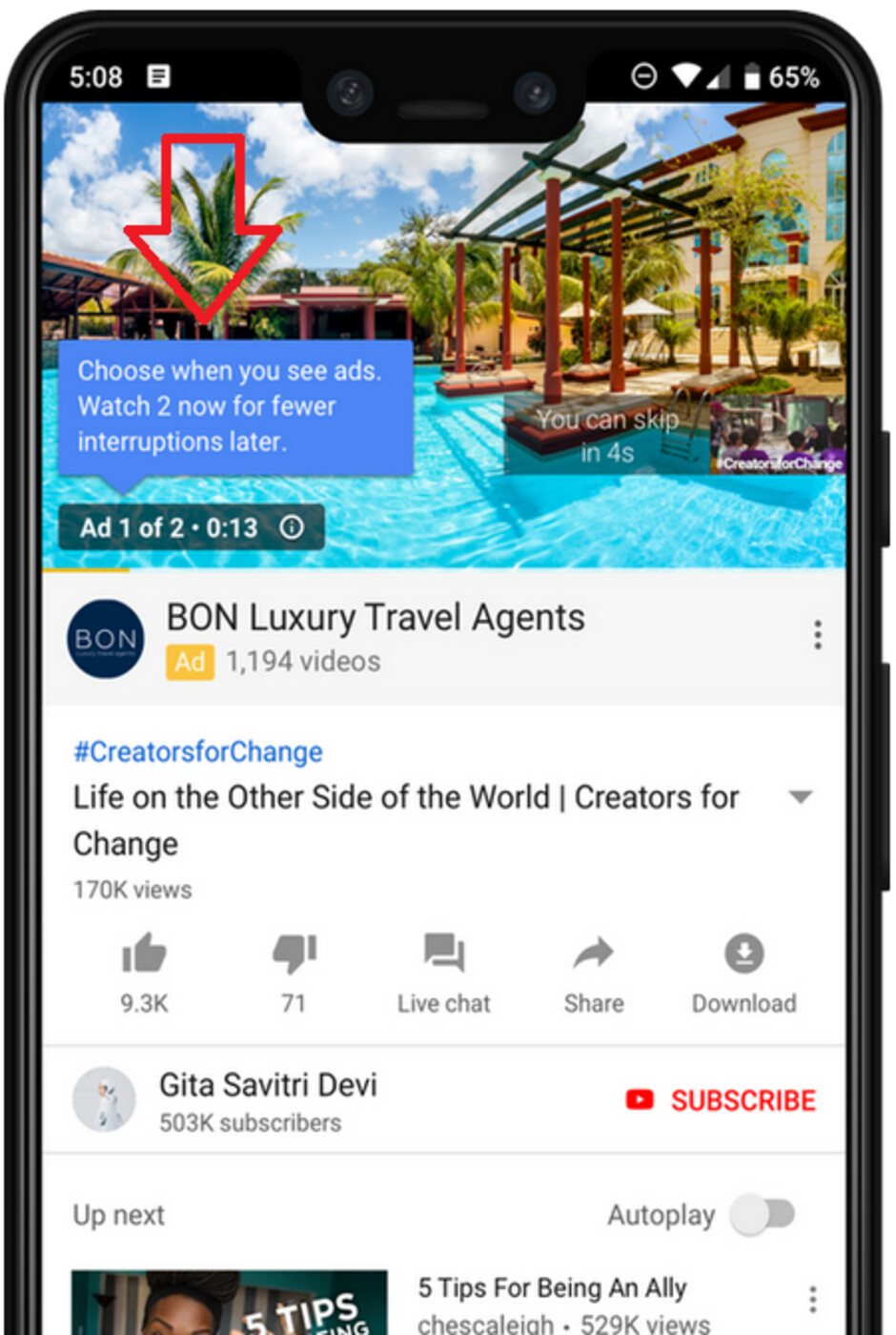 Example of an ad pod that gives a YouTube viewer the option to see two back to back ads now, or face more interruptions later - YouTube tests back-to-back skippable ads that reduce interruptions later in the viewing session