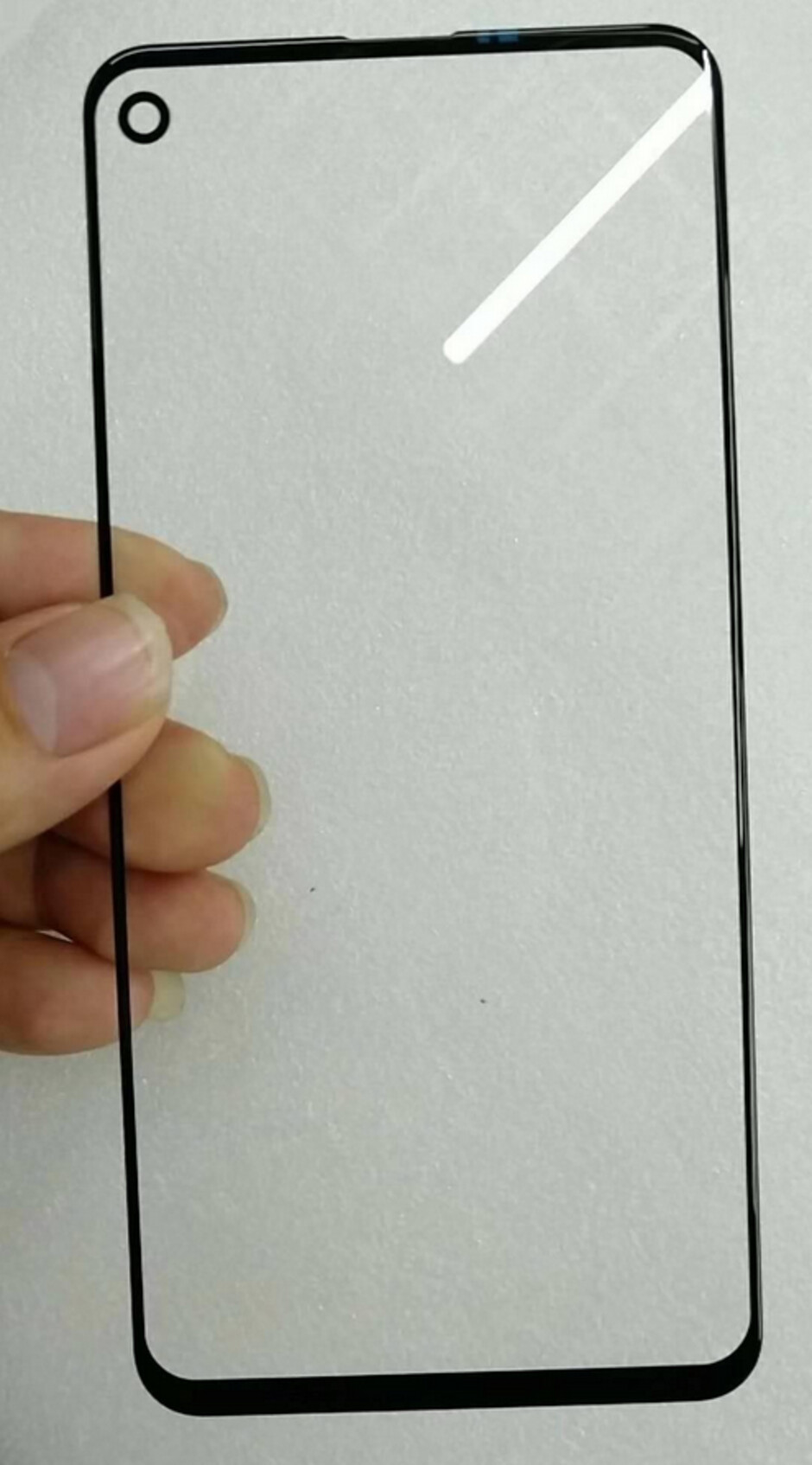 Alleged screen protector for the Samsung Galaxy A8s with a cutout for the in-screen camera - In-screen camera cutout seen on screen protector allegedly made for Samsung Galaxy A8s