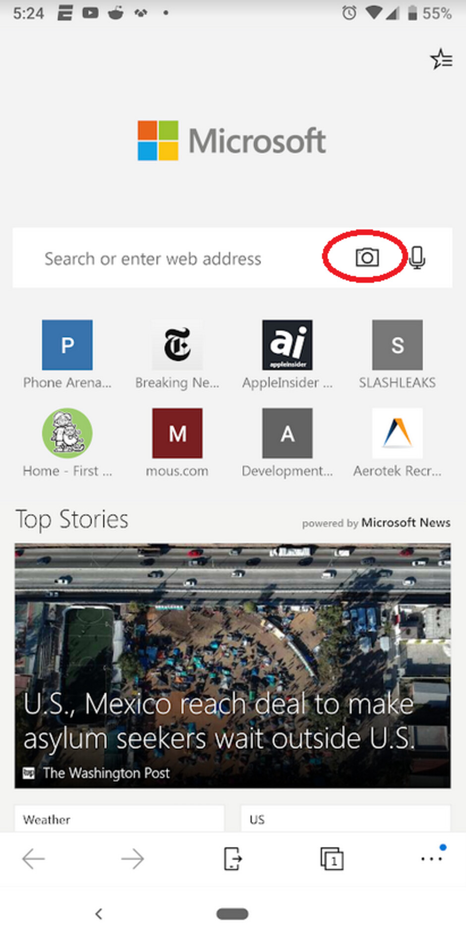 Use the camera icon in Edge's search bar for Visual Search - Update now available for the Android version of the Microsoft Edge browser app