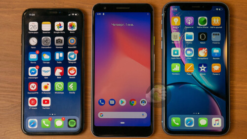 iPhone x (left) vs Pixel 3 Lite (mid) vs iPhone XR (right)