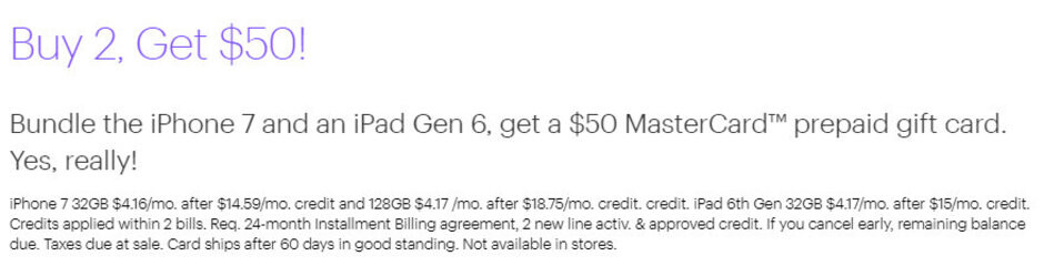 Sprint offers iPhone 7 and iPad Gen 6 bundle for less than $10/month, plus prepaid $50 Mastercard