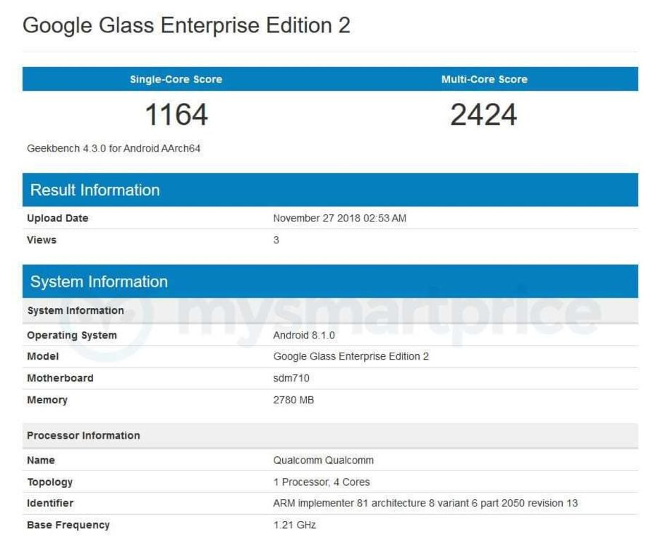 New Google Glass model appears in benchmarks: Snapdragon 710, Android 8.1 Oreo