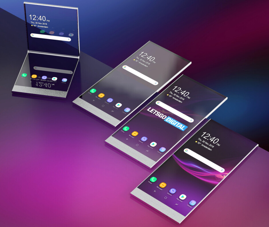 Renders based on the Sony patents - Sony's foldable smartphone may take the transparency route