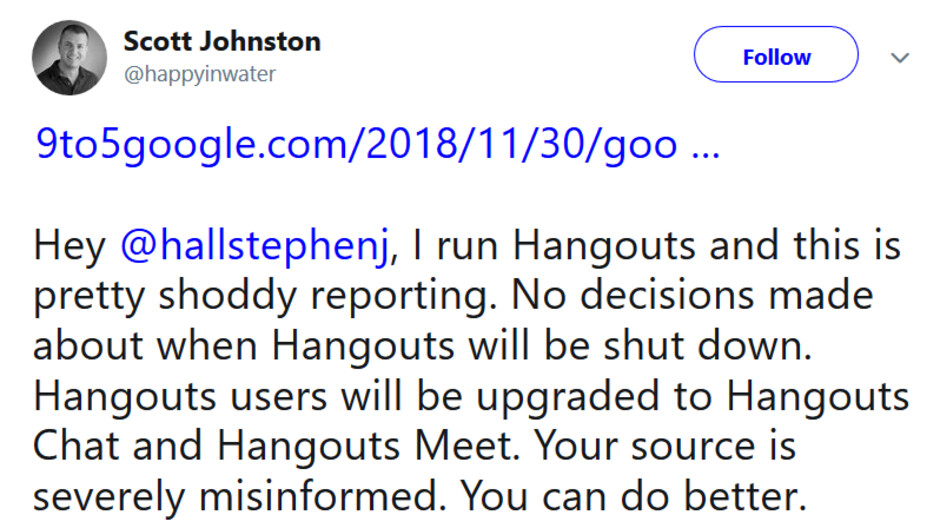 Google Hangouts product lead Scott Johnston says that Google has yet to decide when it will close Hangouts to consumers - Before Hangouts closes, Google plans to migrate consumers to the Chat and Meet apps