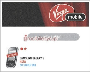 Samsung Galaxy 5 will be joining Virgin Mobile Canada's lineup?