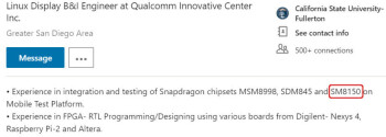 The SM8150 being mentioned by Qualcomm employees