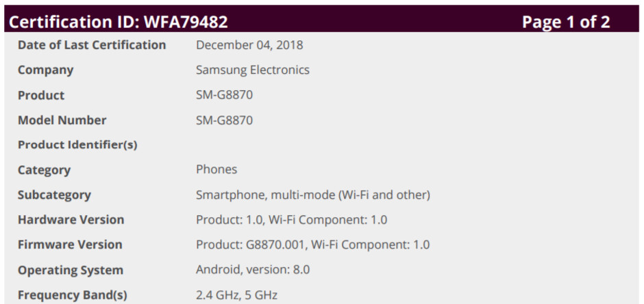 Samsung Galaxy A8s gets certified running Android Oreo ahead of debut