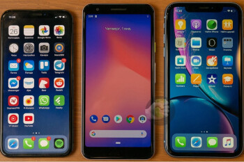 Pixel 3 Lite (middle) compared with the iPhone X and iPhone XR
