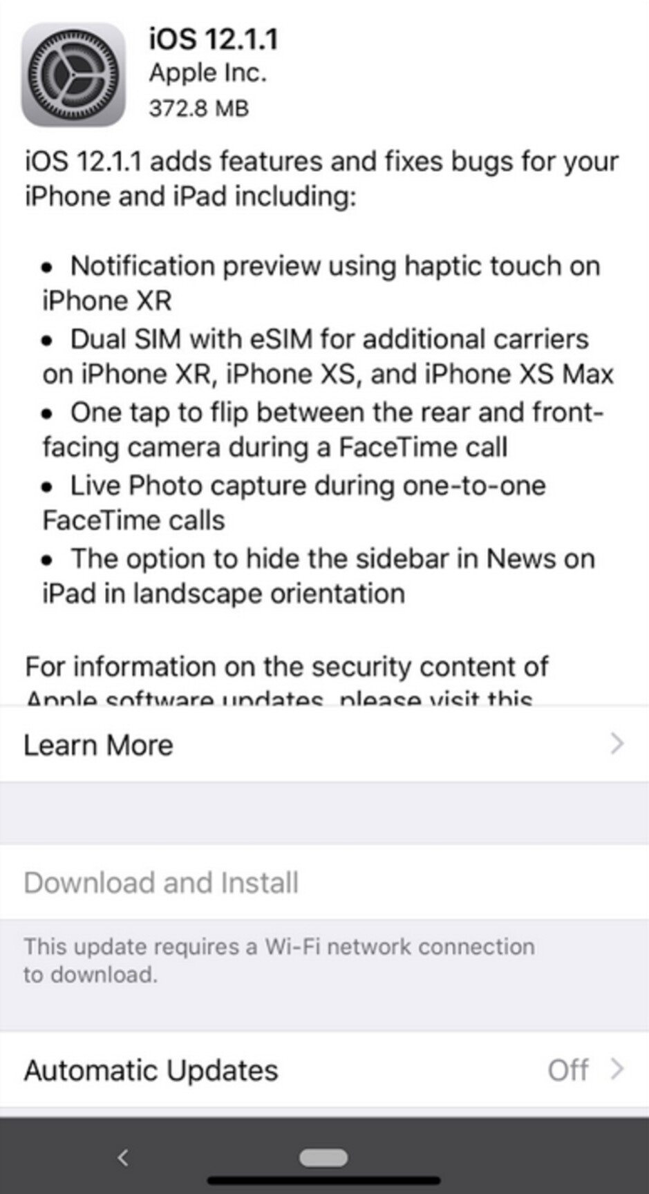 Apple releases iOS 12.1.1 - Apple releases iOS 12.1.1, allowing users to flip the FaceTime camera with a single tap