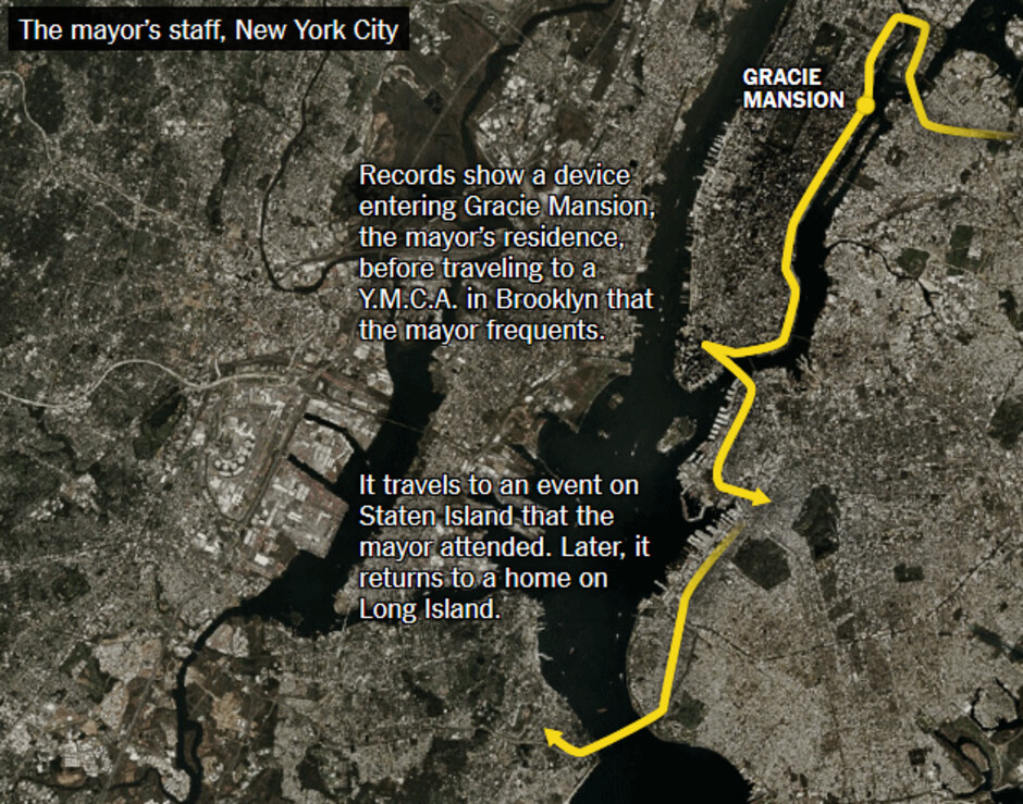 Device is tracked from Gracie Mansion, home of the New York City Mayor, to a YMCA in Brookly where the current Mayor is known to visit - Some apps sell your location data by hiding developers' true intentions