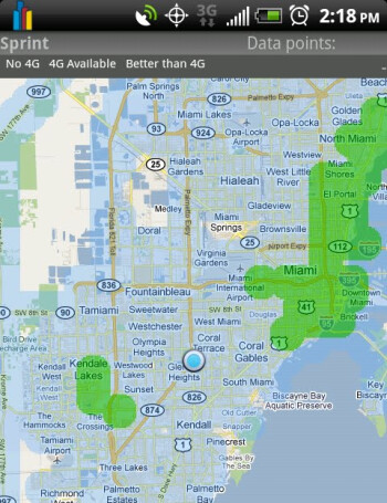 The areas in green offer 4G coverage - Android app finds areas with 4G coverage