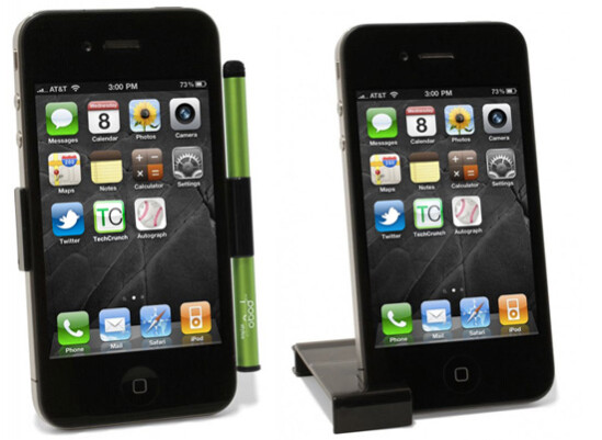 The clip doubles as a stand for your Apple iPhone 4 - New Pogo Stylus for iPhone 4 doubles as stand